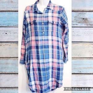 GAP Pink & Blue Plaid Button Shirt Dress
